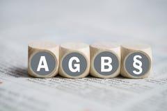 期限和条件(当首字母缩略词AGB用德语) 免版税库存图片
