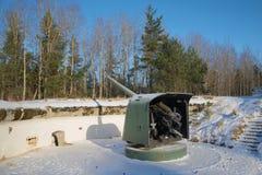 期间巨大爱国战争的海军炮在一个位置的冬天下午 堡垒Krasnaya戈尔卡,俄罗斯 免版税库存照片