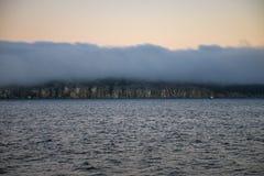 朦胧的日落海景在英国Colum的俯视纳奈莫公园 免版税图库摄影