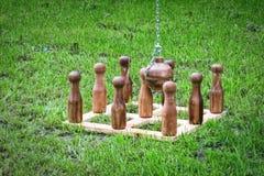 木九柱游戏用的小柱比赛 图库摄影