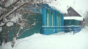 木俄国房子在冬天 股票录像