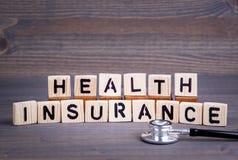 从木信件的健康保险 抽象企业和成功背景 图库摄影