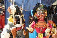木偶待售在街市加德满都,尼泊尔上 库存照片