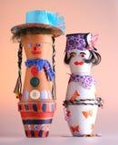 木偶由握持热锅的布垫子做成 库存照片