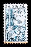 木偶,玩具和火箭,大约1961年 图库摄影