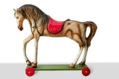 木儿童五颜六色的马玩具的葡萄酒 免版税库存照片