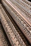 木入口在头骨雕刻了在Hanuman Dhoka,尼泊尔 免版税库存图片