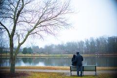木公园长椅在天 免版税图库摄影