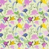 木兰与墨水手拉的无缝的样式的花skecth 皇族释放例证