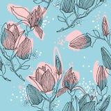 木兰开花 与春天花的无缝的样式 皇族释放例证