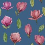 木兰花和叶子的无缝的样式  库存例证