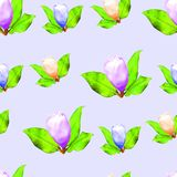 木兰 花无缝的样式纹理  背景细部图花卉向量 免版税图库摄影