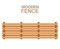 木农场上平的样式的篱芭木剪影建筑 免版税库存图片
