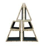 从木几何形状的抽象创造性的圣诞树是 免版税库存图片