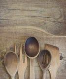 木刀叉餐具 图库摄影