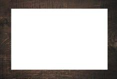 黑木制框架、广告牌或者白色水平的长方形 免版税库存照片