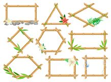 木制框架由竹棍子制成设置了,不同的形状框架与花的,并且叶子导航例证 库存例证