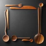 木匙子、叉子和刀子框架  库存图片