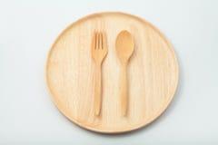 木匙子和叉子 免版税库存照片