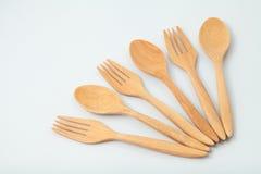 木匙子和叉子 库存照片