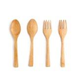 木匙子和木叉子在白色背景 皇族释放例证