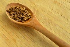 木匙子和粒子咖啡 免版税库存照片