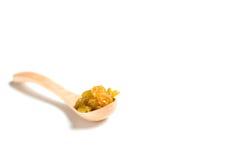 木匙子用干葡萄干 免版税库存照片