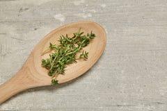木匙子用香芹籽和迷迭香,葱,在背景的大蒜 顶视图 库存图片