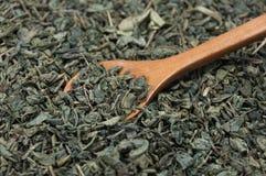 木匙子获取的绿茶 免版税库存照片