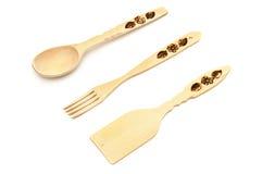 木匙子,叉子,小铲 免版税库存图片