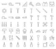 木匠、杂物工工具和设备象集合,概述设计 皇族释放例证