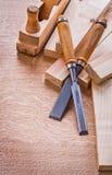 木匠业凿老木工飞机和板条 免版税图库摄影