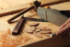 木匠业和细木工技术工具 免版税图库摄影