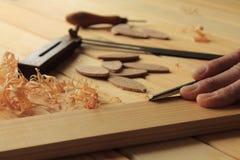 木匠业和细木工技术工具 免版税库存照片