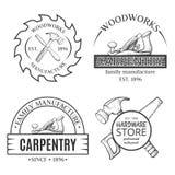 木匠业运作线艺术设置与商标 向量例证