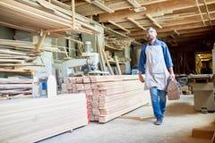 木匠在现代细木工技术方面 免版税库存照片