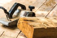 木匠工具为平面木头 库存图片