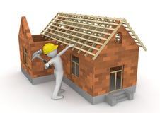 木匠收集屋顶木材工作者 免版税库存图片