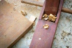 木匠木匠业飞机用工具加工讨论会 免版税库存照片