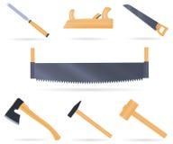 木匠的集合传统工具 免版税库存图片