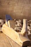 木匠的飞机和刮 库存照片