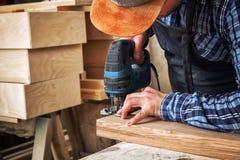 木匠看见了木 免版税库存照片