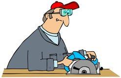 木匠通报锯使用 库存照片