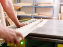 木匠锯在一把圆锯的木材射线 库存照片