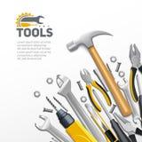 木匠建筑用工具加工平的构成海报 皇族释放例证