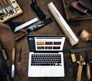 木匠Craftmanship工艺品木车间概念 库存照片