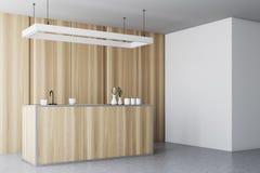 木厨房内部,工作台面,墙壁边 皇族释放例证