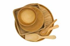 木厨房器物-碗,板材,盘子,匙子 图库摄影