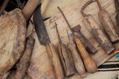 木厨房的器物 库存图片