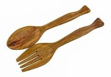 木叉子和匙子集合 库存照片